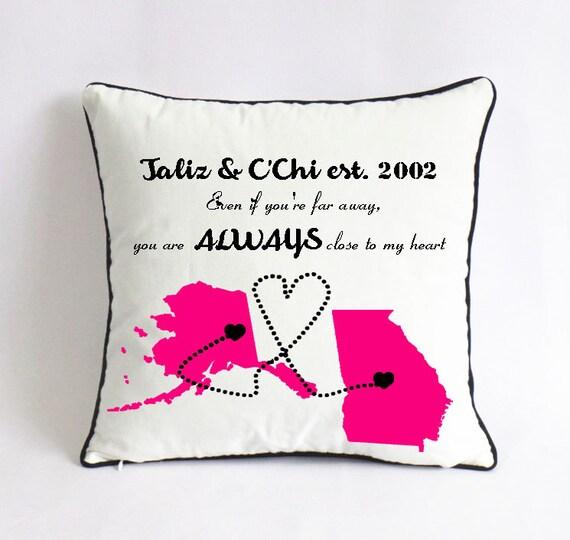 Long Distance AK GA Pillow Case-girlfriend One Year