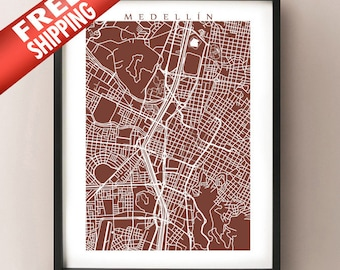 Medellin Map Print - Colombia Poster