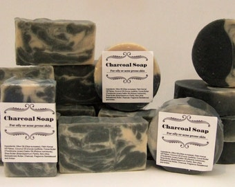 Charcoal Soap 2 pack, for skin which is oily or prone to acne, relieves oily and acne skin, helps absorbs impurities, activated charcoal