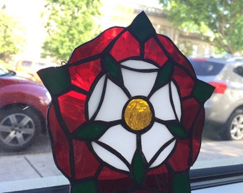 Red Tutor Rose Flower Sun Catcher Stained Glass