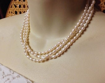 SALE- Vintage Sterling Silver Bridal Multi-Strand Genuine Pearl Necklace- Classic!