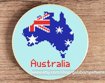 Australia cross stitch pattern, Modern cross stitch, PDF counted cross stitch pattern, Australian flag map, Patriotic, Map cross stitch