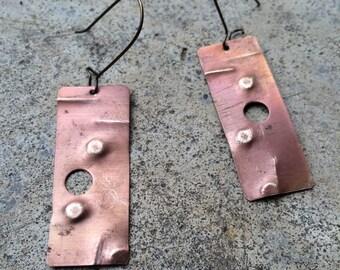 Geometric brass drop earrings