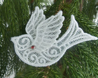 Ornaments ~ Christmas ~ Easter ~ Holiday Amazing Light Cream Lace Birds