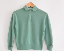 Cashmere Sweater 1950's Maurice Handler 100% Pure Imported Cashmere Soft Sea foam  Green Color Pearly Buttons Petite Small