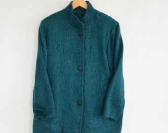 Teal Mohair Coat Made in Ireland Fuzzy Sweater Jacket Light Weight  Size m/l Irish Connections by Teresa Agnes Mohair Wool Nylon Blend