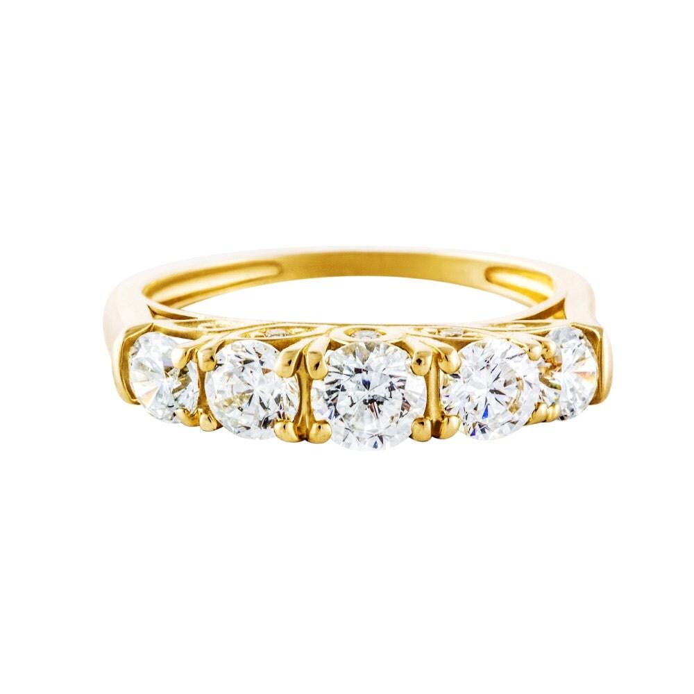 stone wedding band 14k leaf engagement ring cz 5 stone