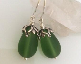 Green Sea Glass Earrings / Matte Glass Teardrops / Sterling Silver Earrings / Emerald Green Glass Earrings