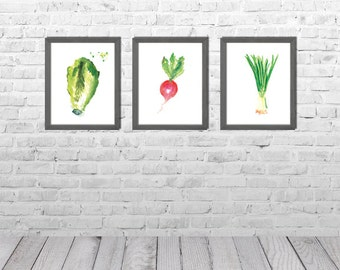 Kitchen Wall Art, Dining Room Decor, Kitchen Paintings, Vegetable Watercolor Painting,Vegetable Art, Still Life, Set of 3