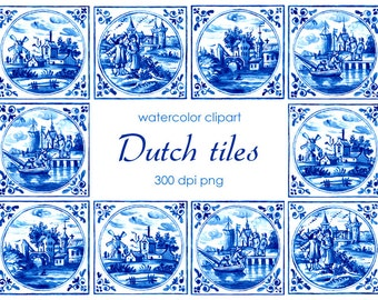 Dutch Tiles Clipart, Delft Blue Tiles Clip Art, Digital Watercolor Illustration, Hand Drawn Landscape, Printable Stock Illustration