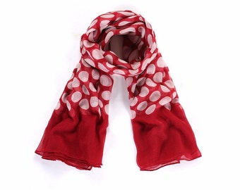 Red Polka Dot Scarf, Large spotty Scarf , Spotted Scarf