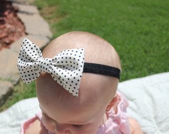 Cream & Black Polka Dotted Bow