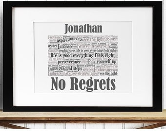 Personalised Inspirational Motivational Word Art - No Regrets