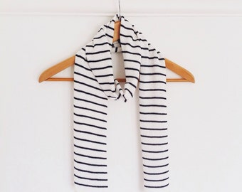 Striped cotton scarf, striped nautical scarf, navy and white scarf, nautical scarf, striped navy scarf