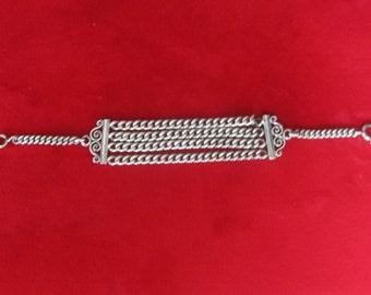 Antique Sterling Silver Pocket Watch Chain Bracelet