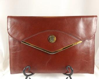 Vintage Etienne Aigner Clutch Oxblood Burgundy Aigner Clutch Handbag