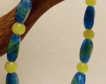Variegated Turquoise Yellow Beaded Bracelet Boho Hippie