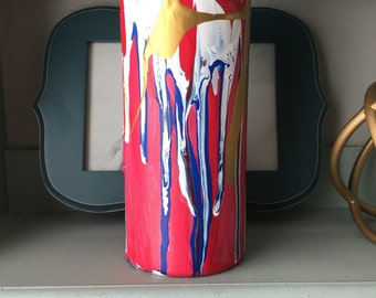 Hand Painted Drip Cylinder Vase - Patriotic BOOM