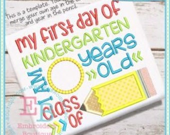 Personalized My First Day of Kindergarten Class of  Applique Shirt or Onesie Girl or Boy