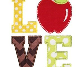 Personalized LOVE Apple Applique Shirt or Onesie Girl or Boy
