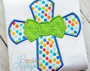 Personalized Easter Cross with Bow Tie Applique Shirt or Onesie Girl or Boy