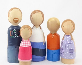 Custom Peg Doll Family of FIVE (5) // Wooden Peg Dolls // Wooden Peg People // Waldorf Doll // PegHead Peg Dolls // Wooden Pegs Dollhouse