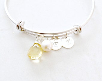 personalized citrine gemstone bangle monogram initial bangle hand stamped letters pearl bangle monogram jewelry pearl jewelry beach wedding