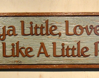 Love Ya Little Loveya Big, Rustic Pig Sign, Little Pig, Wood Sign, Handmade Rustic Sign, Robin Egg Blue, Love You, Farm Sign, Stock Show Pig