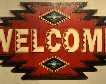 Welcome, Southwest Welcome Sign, Red Welcome Sign, Rustic Sign, Handmade Sign, Turquoise Accents, Vintage Welcome Sign