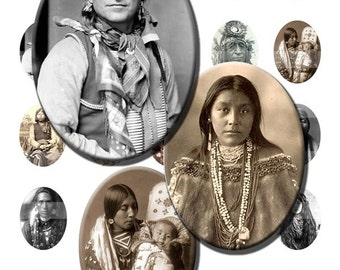 Native Americans American Indians Tribe Digital Images Collage Sheet 30x40mm Ovals INSTANT Download O46