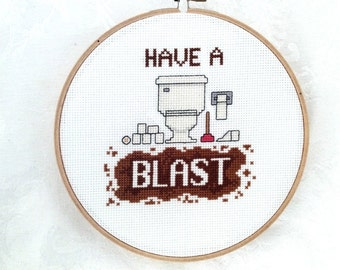 Toilet embroidery, snarky cross stitch pattern, funny PDF pattern, printable potty humor, funny bathroom decor, rude digital download, sassy