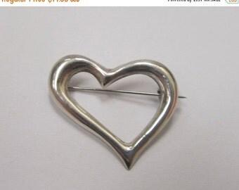 On Sale Vintage Sterling Silver Heart Pin Item W # 153