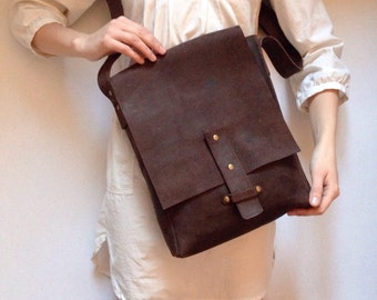 Brown Leather Messenger Bag, Men's Leather Bag, Full Grain Leather, Brown Velvet Bag, Cross Body Bag, Shoulder Bag, For Men