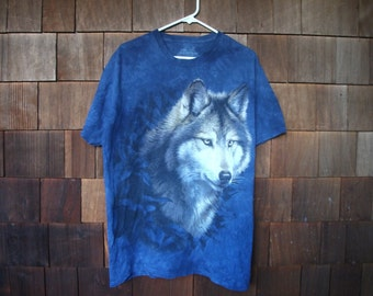 Tie Dye Wolf Blue T-Shirt The Mountain Brand Size L
