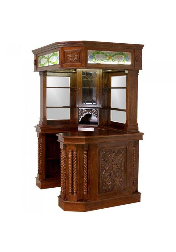 Corner Home Bar Furniture Solid Mahogany With Tiffany Glass