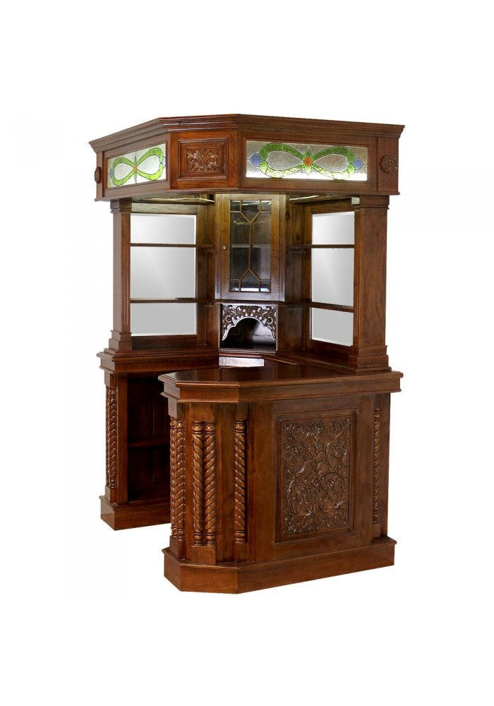 Corner Home Bar Furniture Solid Mahogany With Tiffany Glass