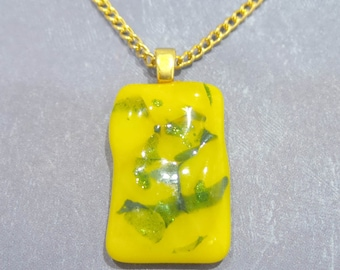 Yellow Pendant, Yellow and Green Necklace, Handmade Fused Glass Jewelry - Field of Gold - 769-6