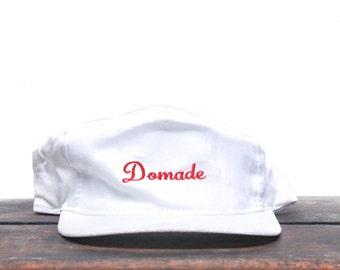 Vintage Mimimal White Distressed Domade Script Trucker Hat Snapback Baseball Cap