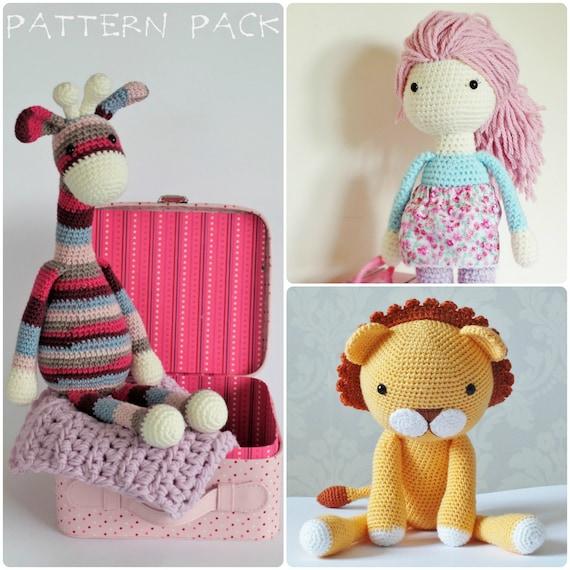 Amigurumi Yarn Pack : Crochet Amigurumi Toy PATTERN Pack Special Offer Giraffe Lion