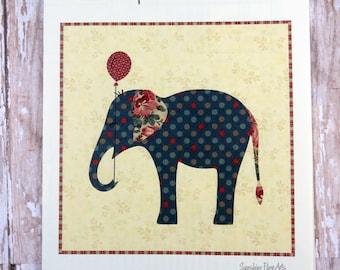 Elephant Pillow Applique Pattern - Edyta Sitar - Laundry Basket Quilts - LBQ-0569-P