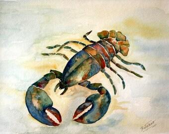 LOBSTER - Original Watercolor sea lobster ocean scene watercolor painting