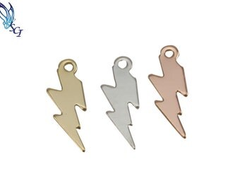 Tiny Lightning Bolt Charm in Sterling Silver, Gold Filled, Rose Gold Filled, Jewelry Findings, Bolt Charms, Lightning Bolt Charms, HCIN167