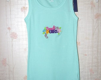 Beach Girl Embroidered Mint Green Summer Tank Top Shirt