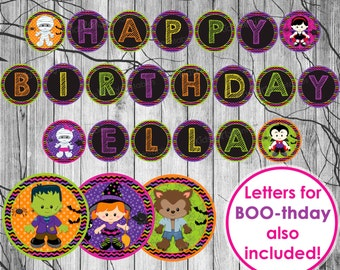 HALLOWEEN BIRTHDAY BANNER, Halloween Banner Printable, Kids Halloween Birthday Party Decorations, Halloween Printable Decor, Trick or Treat