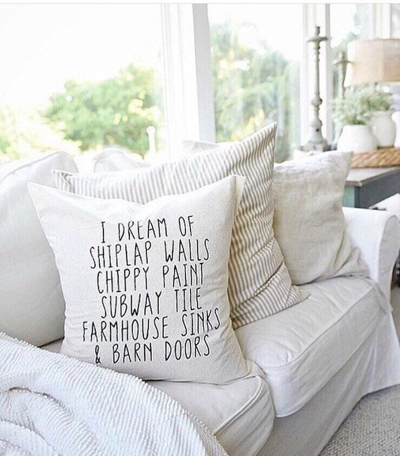 Throw Pillow Covers Farmhouse : I dream of shiplap Farmhouse pillow/ fixer upper style