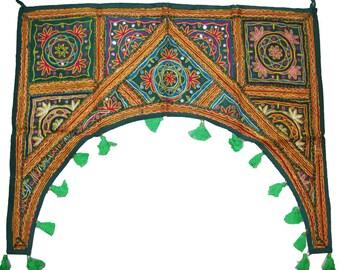 Hand made Indian door decoration Kutch Gujarat embroider mirror work window door toran/gate/ valance/wall hanging