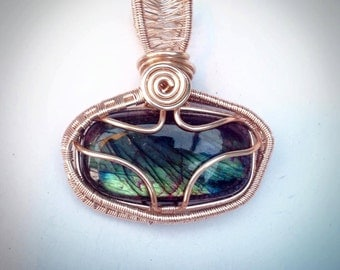 Pink Rare Labradorite Rose Gold Plated Pendant Couture  Boutique Unique Designer Jewellery Gift for Her