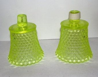 Pair Vaseline Glass Votive Candle Holders