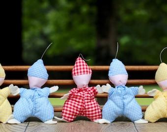 Set of Five Vintage Gingham Baby Dolls / Vintage Gingham Dolls / Yellow Gingham Nursery / Red Gingham Nursery / Blue Gingham Nursery