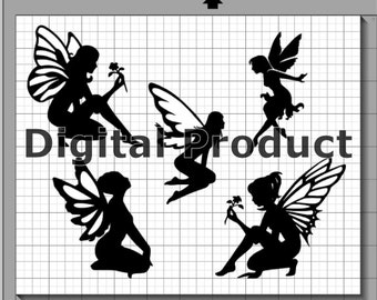 Fairy Silhouettes SVG, (dxf, eps, pdf, png, svg, studio3 file types) Fairy Figures Die Cut Files, Silhouette Cameo, Cricut, Instant Download